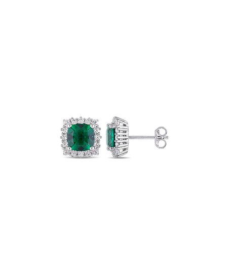 Sofia B Emerald White Sapphire Cushion Cut Stud Earrings