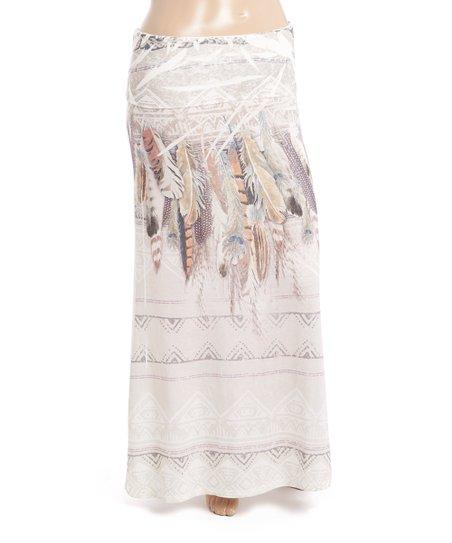 32bd8abdbe45 Poliana Plus Ivory Feather Maxi Skirt - Plus | Zulily