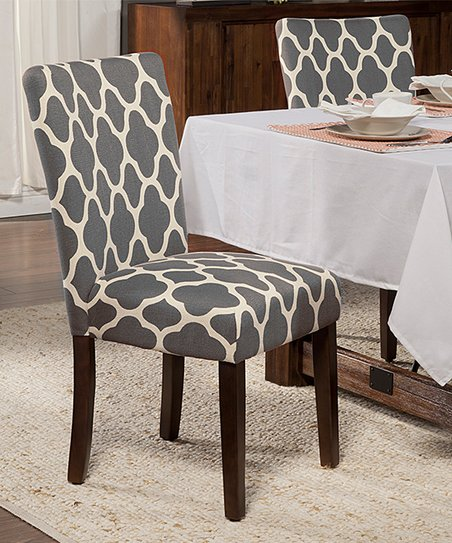 Gray Quatrefoil Dining Chair   Set Of Two