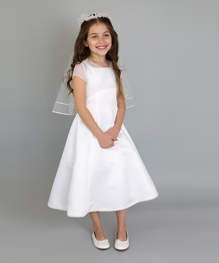 e38f72d29 Lavender by Us Angels White Shirred A-Line Dress - Girls | Zulily
