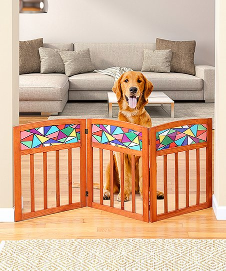 Etna Products Geometric Three Section Wood Pet Gate
