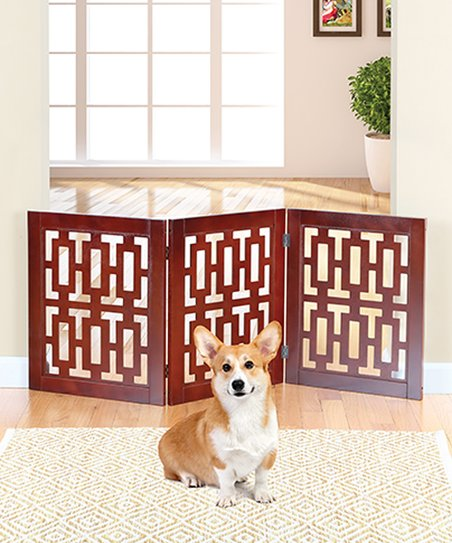 Etna Products Walnut Finish Retro Free Standing Pet Gate