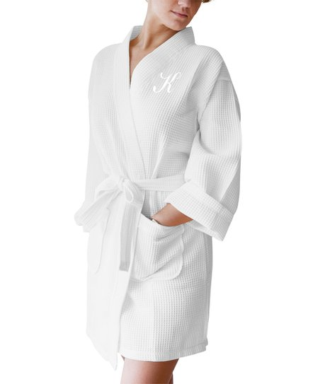 08e7e4efa8 Luxor Linens White Rebecca Cotton Waffle-Knit Initial Bathrobe