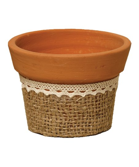 870225347 love this product Small Burlap & Lace Pot