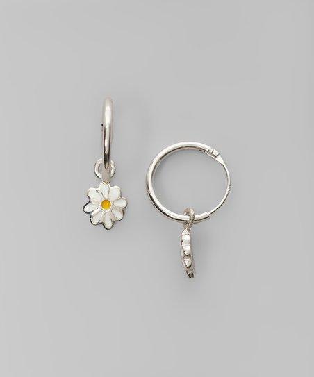 Sterling Silver Daisy Charm Hoop Earrings