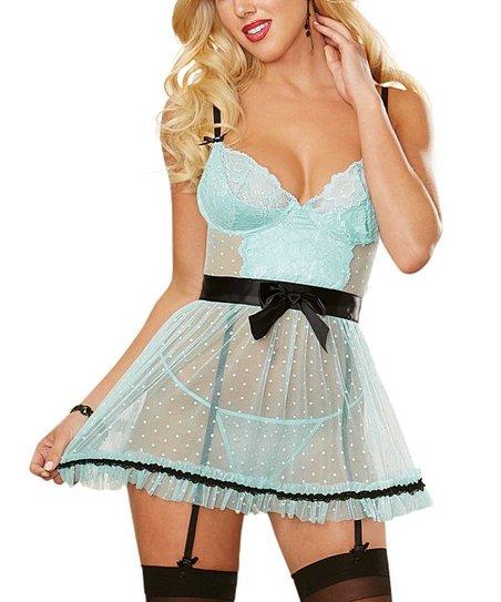 2495d9f653786d love this product Aqua & Black Apron Babydoll & Thong Set - Women, Juniors  & Plus