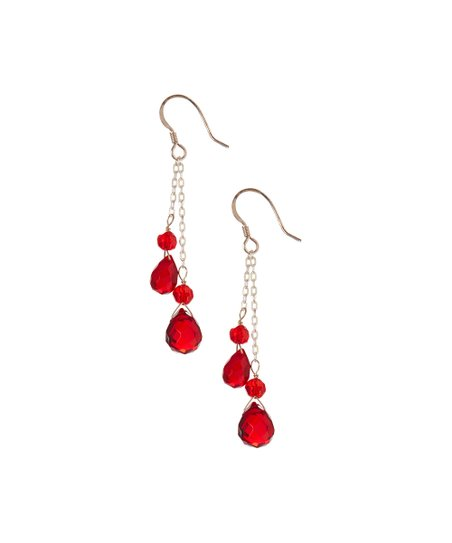 4221fb2ac love this product Red Quartz & Sterling Silver Raindrop Earrings