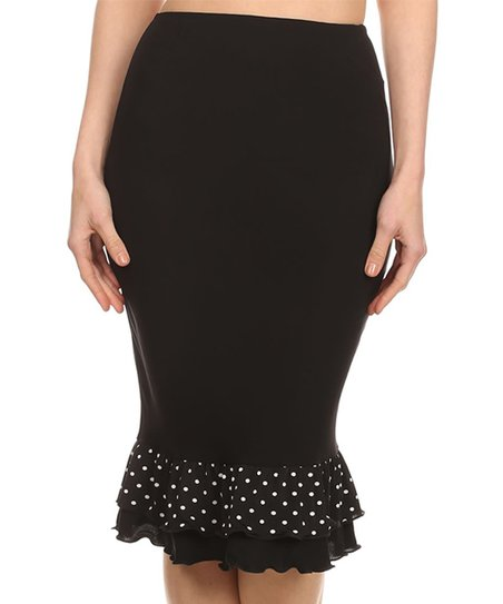95c5d9525 One Fashion by Cozy Collection Black & White Polka Dot Pencil Skirt ...