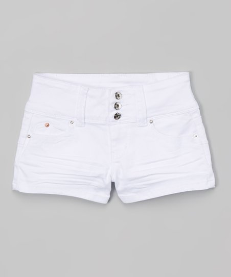 3be5cd8d3 love this product White Thick-Waist Denim Shorts - Girls