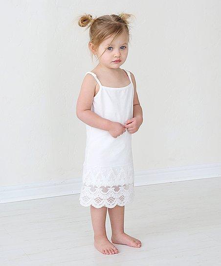 e0aedb410e0e PeekABootSocks Cream Lace Slip Dress - Toddler | Zulily