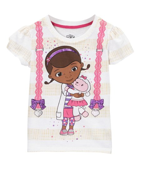 a34df4845707 Childrens Apparel Network White Glitter Bow Doc McStuffins Tee ...