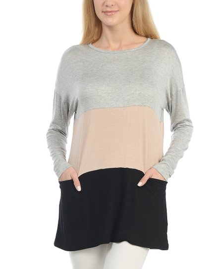 Heather Gray Taupe Color Block Pocket Top Women