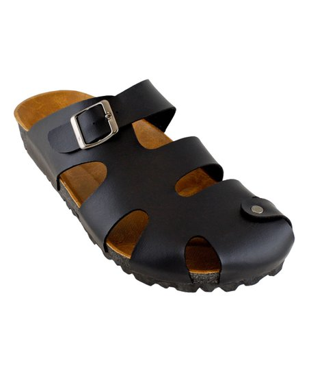 998b50332d8 RK Collection Black Buckle Closed-Toe Sandal - Men