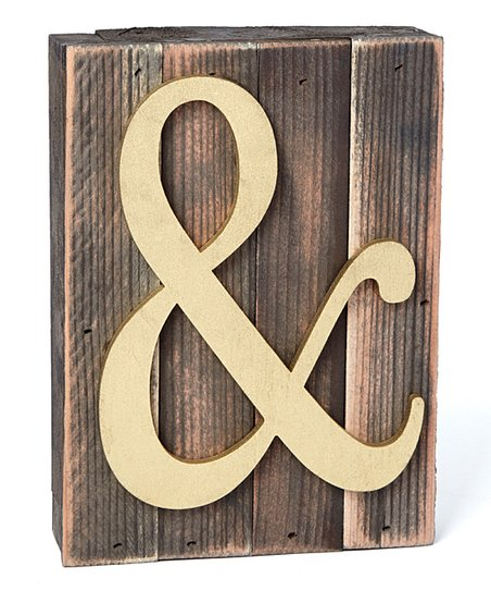 A Monogram Unlimited Natural Ampersand Rustic Wood Block Wall Art