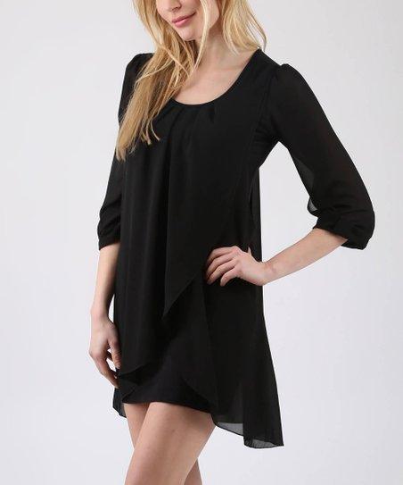 461c916d64 Ornella Black Tulip-Hem Dress