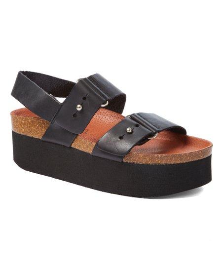 62d37528d3 Sixtyseven Black Ithaca Platform Leather Sandal   Zulily