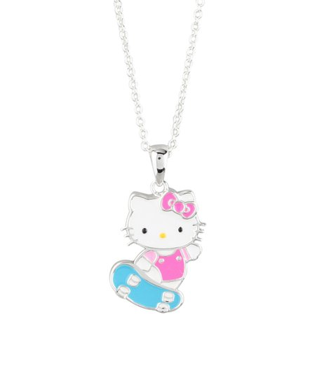 15c977978 love this product Silvertone Silver Hello Kitty Skateboard Pendant Necklace