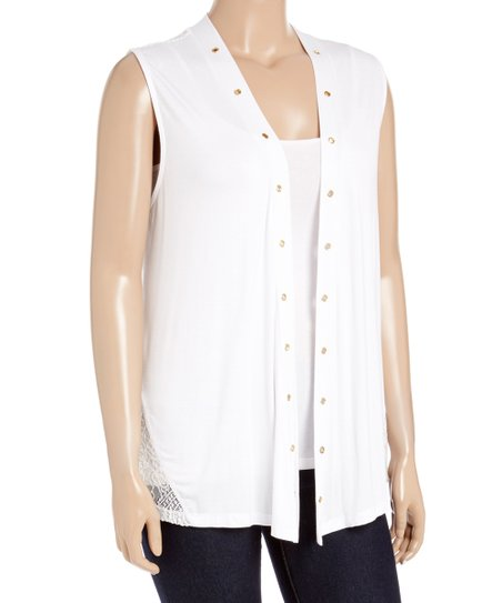62cde253cf6d6 love this product White Lace-Panel Sleeveless Cardigan - Plus