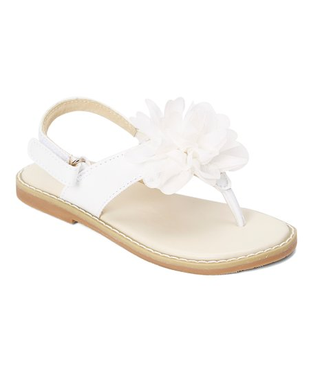 a0169ab0d49589 LAmour Shoes White Floral-Accent Thong Sandal - Girls