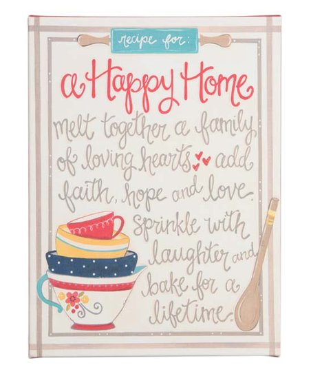 Recipe For A Happy Home Wrapped Canvas Zulily