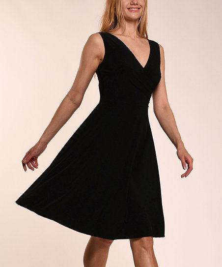 59eff6c8caf07c love this product Black V-Neck Sleeveless Dress - Women   Plus