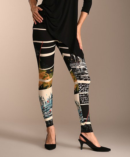 fd2302cd578dc5 Lbisse Black & White Abstract Stripe Leggings - Women | Zulily