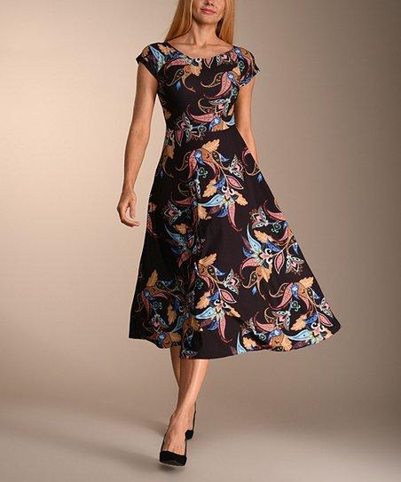 a57f09a46e1d Lbisse Black & Blue Floral Midi Dress - Women   Zulily