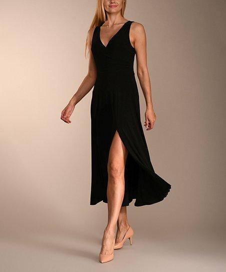 976b4828008779 love this product Black Side-Slit Sleeveless Midi Dress - Women   Plus