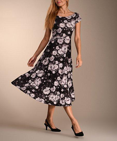 Lbisse Black   White Floral Midi Dress - Women  efc2b07e8a