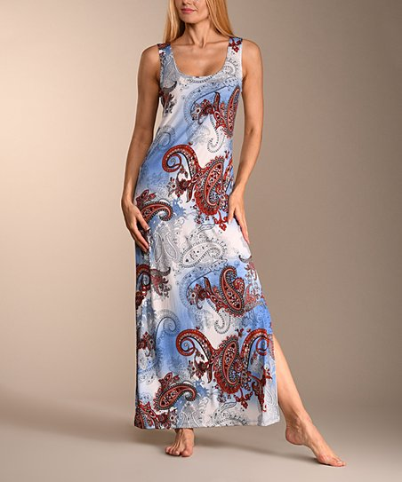 2d82b459af0b58 love this product Blue   Red Paisley Sleeveless Maxi Dress - Women   Plus