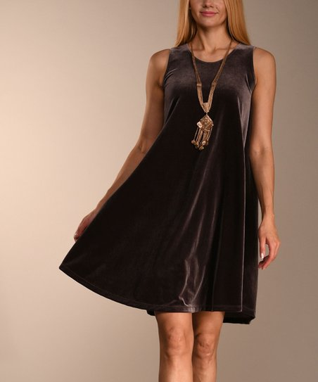 ed16754e3e9019 Lbisse Light Brown Velvet Sleeveless Dress - Women   Plus