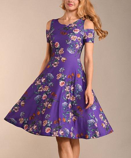 10137d0c6e6a love this product Purple   Teal Floral Off-Shoulder Dress - Women   Plus