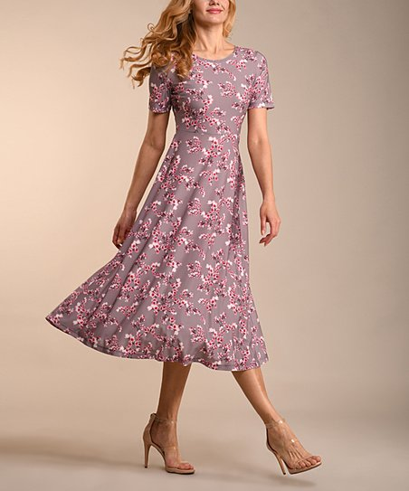 love this product Gray   Pink Floral Midi Dress - Women   Plus c0eac3e3a