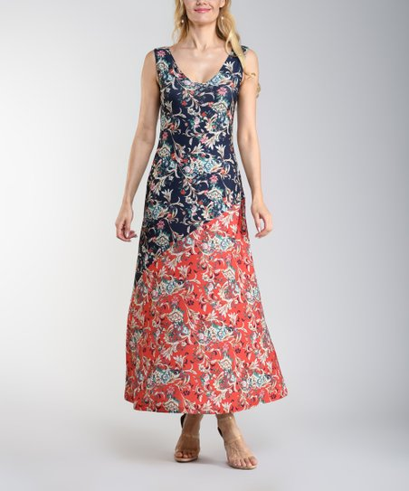5a905d98cd1 love this product Navy & Coral Floral Sleeveless Scoop Neck Maxi Dress -  Women & Plus