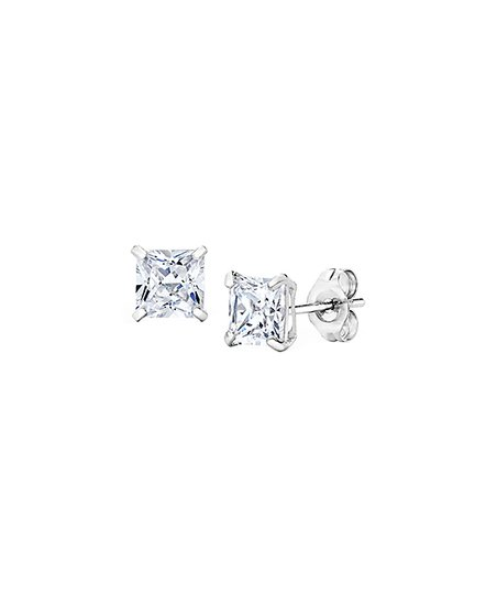 e33c98a2a Best Silver Kids 14k White Gold Princess-Cut Stud Earrings With ...