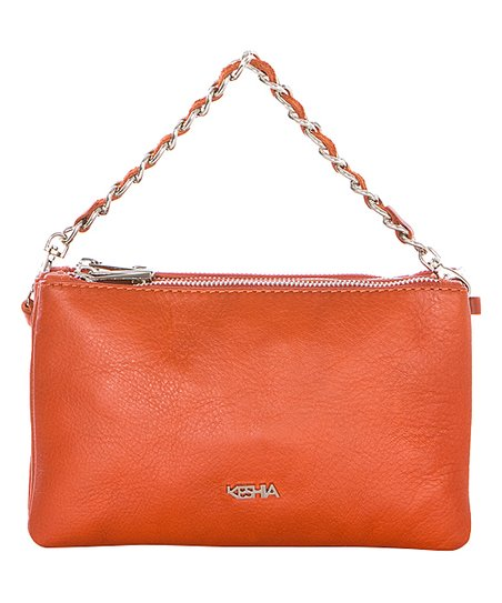 5e56c8778b love this product Orange Chain-Strap Leather Shoulder Bag
