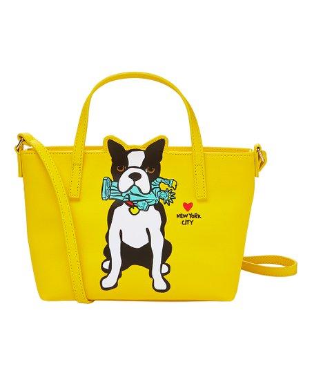 Yellow Boston Terrier New York City Crossbody Bag
