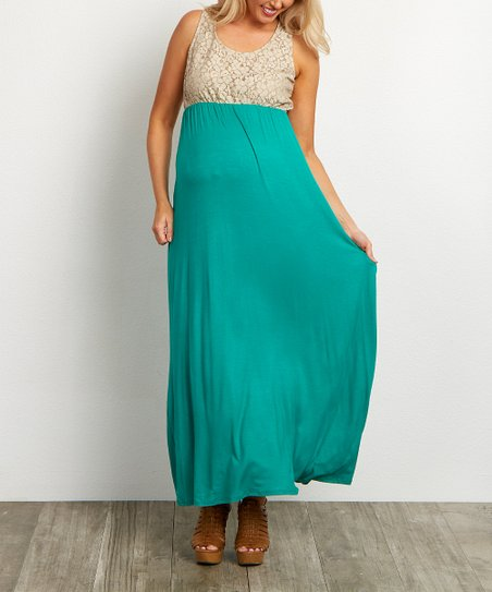918f64c2c7 love this product PinkBlush Green & White Crochet Maternity Maxi Dress