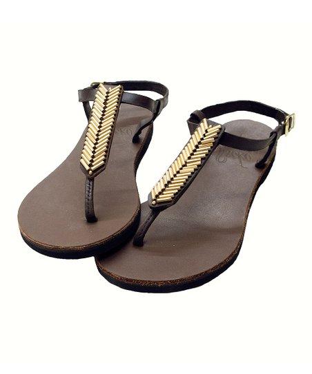 935bd6ddd1a26 Sseko Designs Espresso   Gold Beaded T-Strap Leather Mojave Sandal ...
