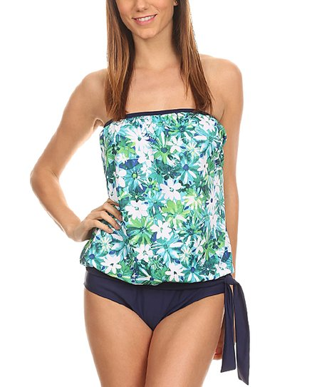 ca3c31304e665 love this product Navy Floral Side-Tie Blouson Tankini Top & Bottoms - Women