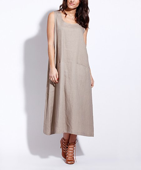 fcaa0cc8da love this product Taupe Button-Side Pocket Linen Midi Dress