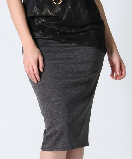 529df89edcdb love this product Heather Charcoal Pencil Skirt - Women