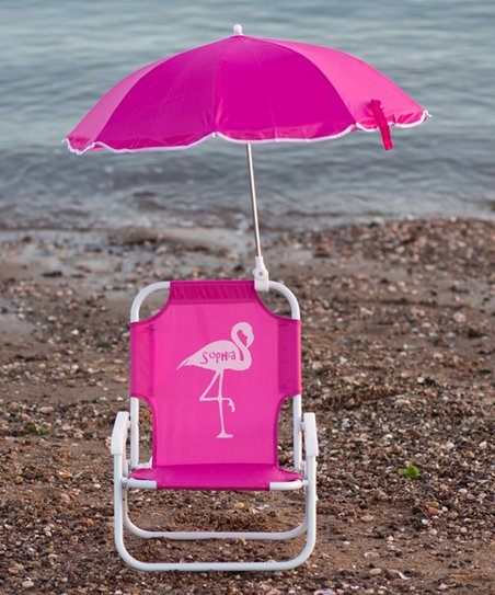 Hot Pink Flamingo Personalized Kid S Beach Chair Umbrella