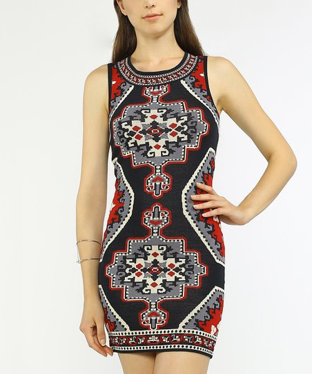 cfabe35c5dd Flying Tomato Black   Red Geo Sleeveless Sweater Bodycon Dress
