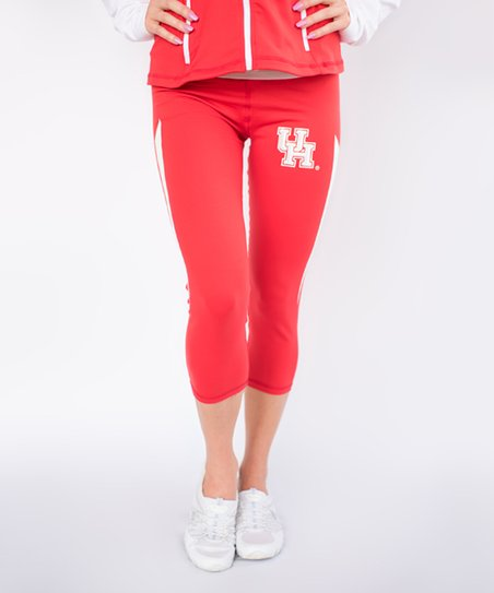 433a79fc1e5323 Twin Vision Activewear Houston Cougars Red Capri Yoga Pants - Women ...