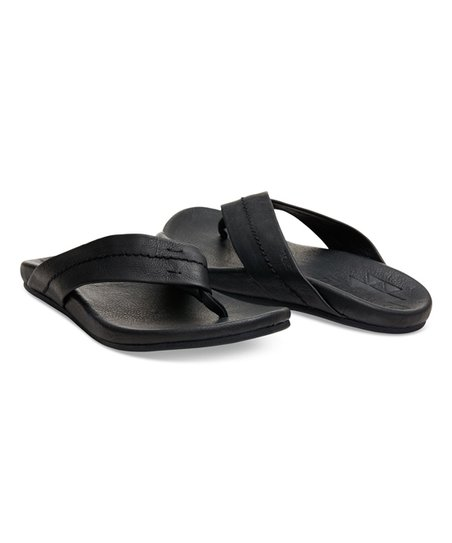 27e92fa7e3 TOMS Black Leather Semana Flip-Flop - Men | Zulily