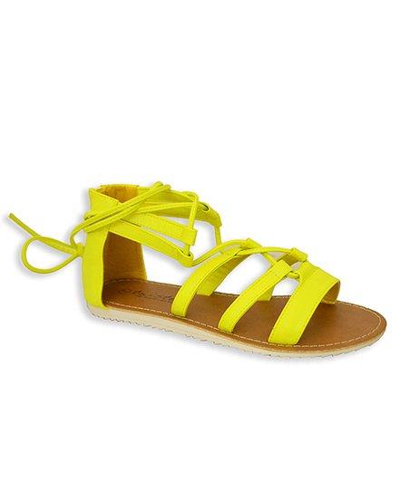 Yellow Lace-Up Viola Sandal