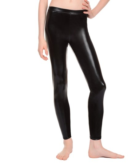 522c471aa86f1 Danskin Black Metallic Dance Leggings - Girls | Zulily