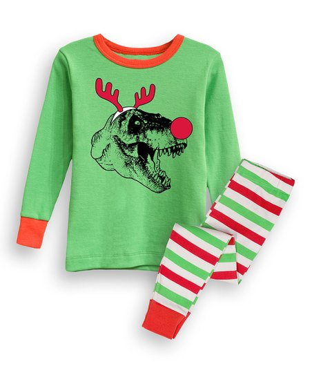 729bfe6b367e Green   Red Red-Nosed T-Rex Pajama Set - Infant   Toddler