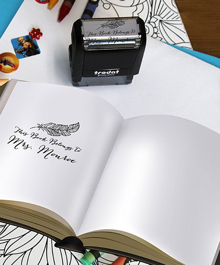 Etchey Feather 'This Book Belongs To' Personalized Self-Inking Stamp
